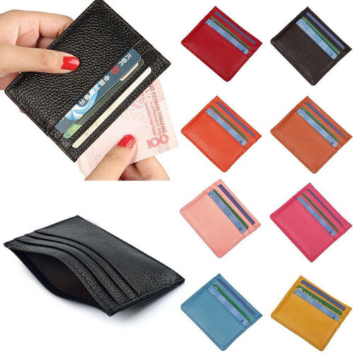 US Stock Mens Womens Leather Small ID Credit Card Wallet Hol