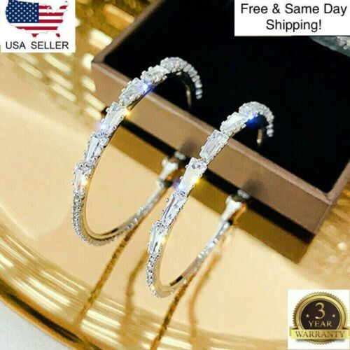 Gorgeous Hoop Earrings Women 925 Silver Jewelry White Sapphire