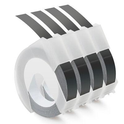 4 Roll Embossing Label Maker Tape 520109 38 White On Black Equivalent Dymo