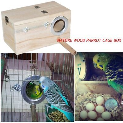 Solid Wood Nest Box Nesting Boxes For Small Birds Parrot Budgies Finches 20cm