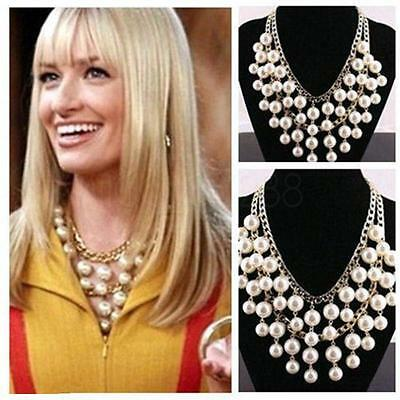 2-Broke Girls Caroline inspired Gold and Cream Pearl pendant Chain Necklace