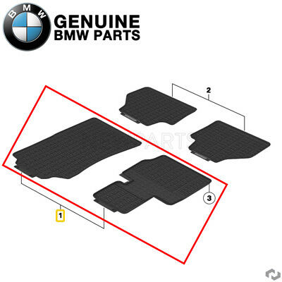 For BMW F25 F26 Set of 2 Front Black Rubber All Weather Floor Mats Genuine