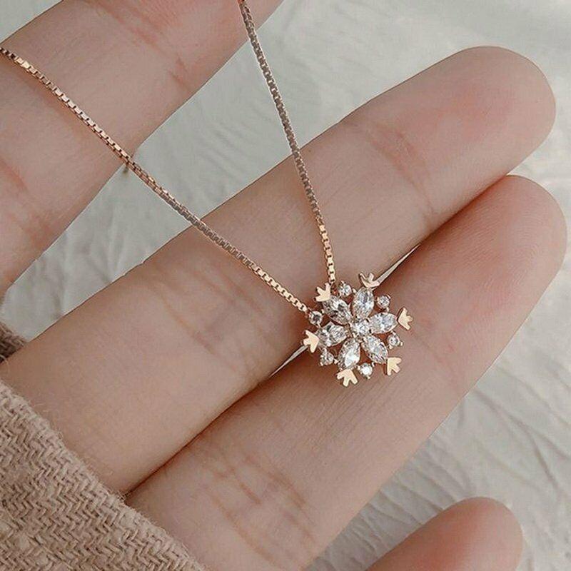 Jewellery - Luxury Zircon Crystal Snowflake Pendant Necklace Women Gold Chain Jewelry Gifts