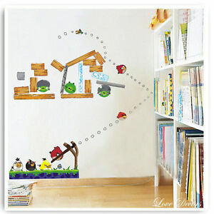 Angry birds wall stickers game animal nursery boys girls for Angry bird mural