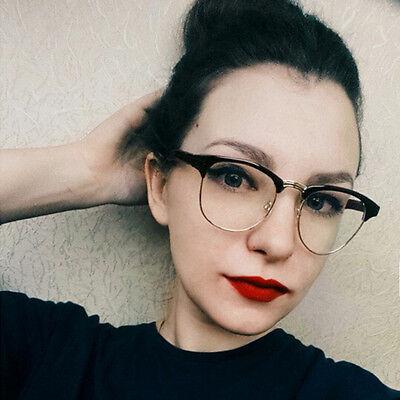 Round Clear Glasses Half Frame Eyeglasses Transparent Frames Women Fake Glasses (Fake Eyeglasses)