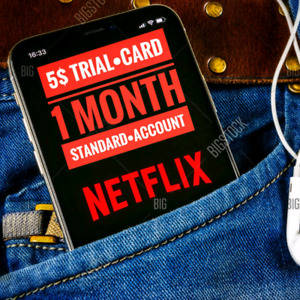 Netflix 1 month / work on mobile samsung iphone / trial card