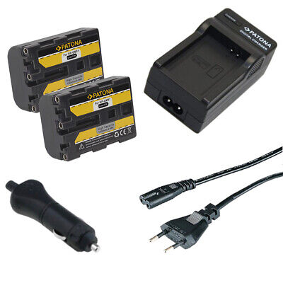 2x Batteria Patona + caricabatterie casa/auto per Sony HVL-ML20M,HVR-A1,HVR-A1E