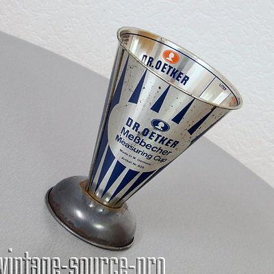 alter Dr. Oetker Metall Messbecher Measuring Cup Blaue Schrift 50er 60er Jahre