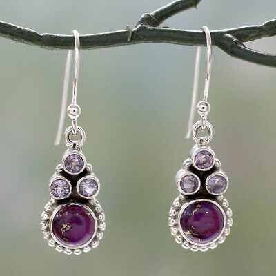 - Fashion Silver Long Petite Flower Turquoise Amethyst Handcrafted Dangle Earrings
