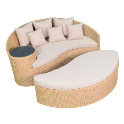 Rattan Patio Wicker Sofa Round with 6pcs Cushions Pillows and Glass Table Daybed ()