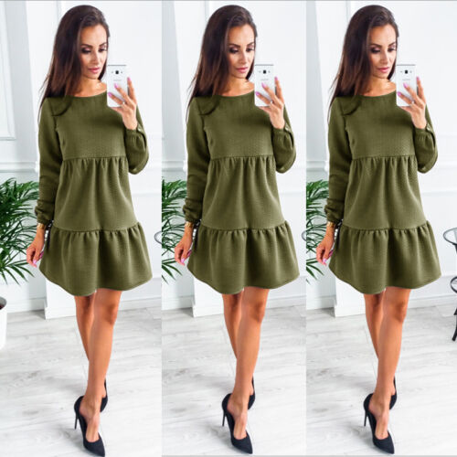 a292c7c6d0b9 Details zu Damen Winter Lotusblatt Mini Slim Basic Kleid Herbst Langarm  Party Abendkleid GS