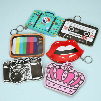 PU Cartoon Coin Purse Mini Lovely Zipper Wallet Key Bag with Key Chain Ring - Keychain Coin Purse