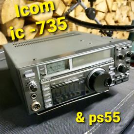 Icom ic - 735 radio transceiver & ps55 supply