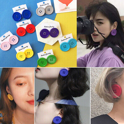 Chic Punk Solid Stud Earrings Button Shape Circle Ear Stud Jewelry Creative Gift