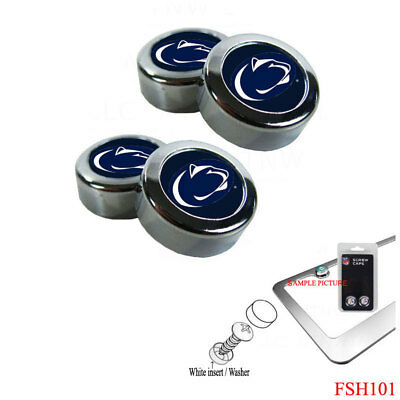 NCAA Penn State Nittany Lions Chrome License Plate Frame Screw Caps Bolt Cover Nittany Lions License Plate Frame