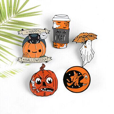 Halloween Pumpkin Cartoons (Funny Halloween Pumpkin Witch Moon Cobweb Cartoon Enamel Brooch Badge Pins)