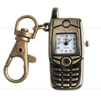 Bronze Cell Phone Pocket Quartz Pendant Key Chain Ring Watch