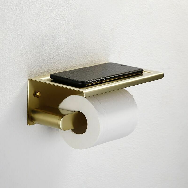 Toilet Paper Holder Shelf Steel Brushed Gold Wall Mounted Bathroom Tissue Hanger