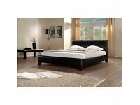 SAME DAY **FREE**CASH ON DELIVERY!!! LEATHER BED-DOUBLE SIZE FRAME -BLACK-BROWN- WITH MATTRESS