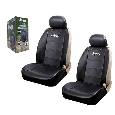 New Jeep Elite Synthetic Leather Sideless Car Truck 2 Front Seat Covers Set