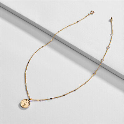 Small Size Minimalist Pendant Necklace Gold Tone Disc Star Moon Rainbow -