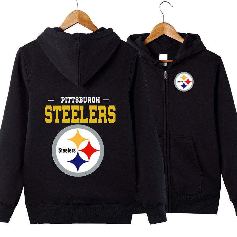 Pittsburgh Steelers Hooded Hoodie Zip Front jacket coat women men warm Sweater
