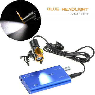 Dental 5w Led Head Light Metal Clip-on With Filter For Glasses Loupes Blue