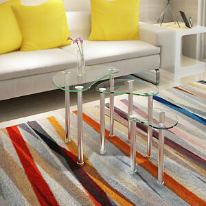 Modern Clear Glass Nest Of 3 Coffee Table Side End Table Living Room Ebay