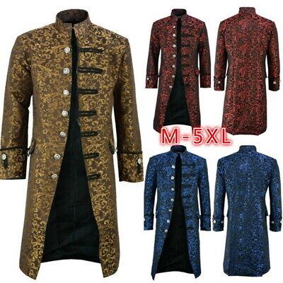 Herren Retro Steampunk Mantel Gothic Mantel Gehrock Smokinghemd Kostüm Jacke