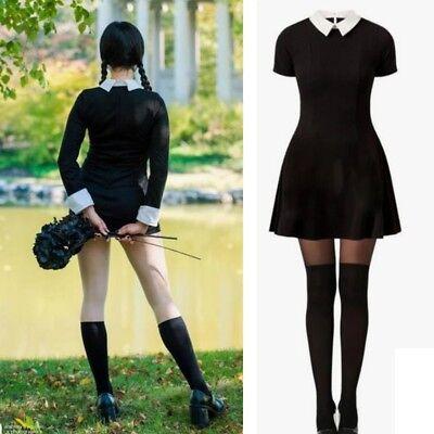 Damen Schwarz Kurze Ärmel Mini Kleid Mittwoch Addams Halloween Cosplay Kostüm