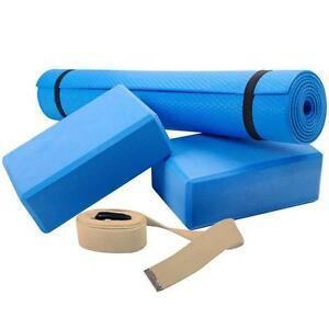 Yogaset Yoga Set Matte Block Klotz Gurt Pilates Gymnastik Fitness Sport Blau
