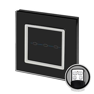 RetroTouch Touch & Remote Light Switch 3 Gang 2 Way Black Glass CT 00025
