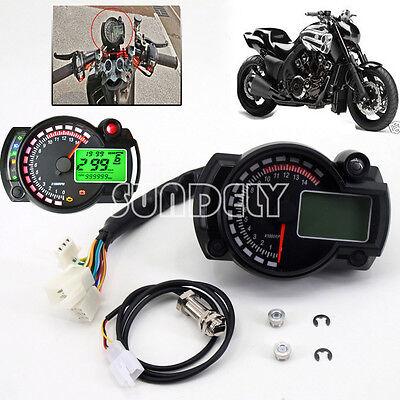 Motorcycle Universal LCD Digital Speedometer Tachometer Odometer Gauge UK Stock