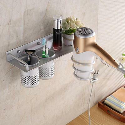 Hair Dryer Stand Storage Organizer Rack Holder Hanger Wall Bathroom Set Sliver