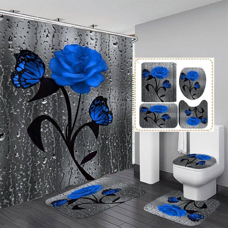 Waterproof Bathroom Shower Curtain Set Toilet Seat Cover Mat Rug Bathroom Decor Bath