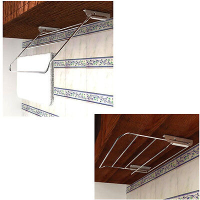 New Stainless Slide Kitchen Dish Wash Cloth Drying Rack Under Cabinet Mount