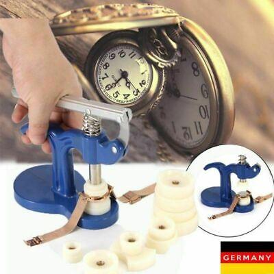 Uhrwerkzeug Uhr Gehäuseschließer Einpresswerkzeug Deckelpresse + 12 Druckplatten