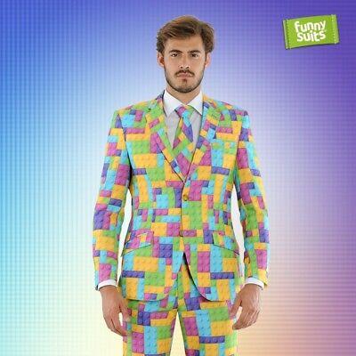 Blockbuster Bausteine Anzug bunt 3-teiliger Anzug Kostüm deluxe - Blockbuster Kostüm