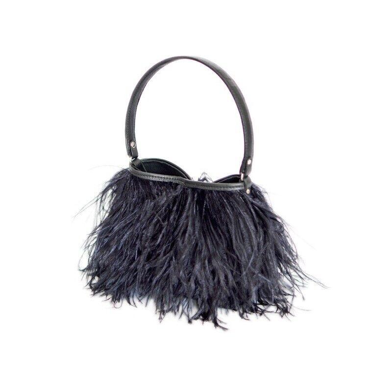 Rarity Bags,Handtasche,Tasche mit Straussenfedern,Federn,Federbag,schwarz,black