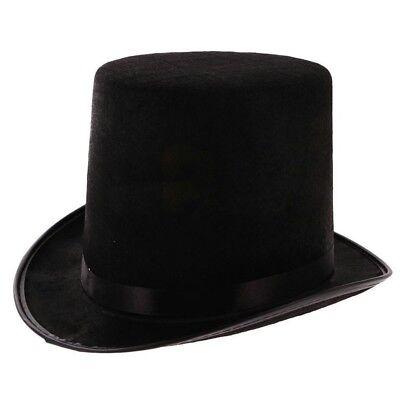 New Fashion Black Satin Magician Butler Formal Costume Top Hat