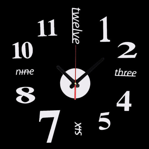 3D DIY Analog Mirror Surface Large Number Wall-Clock Sticker Modern Home Decor~