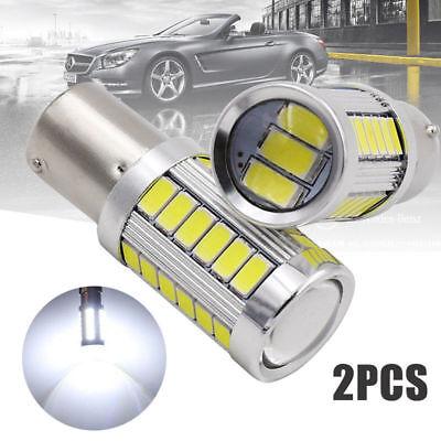 LED Car 2x White Bulbs BA15D P21W 1157 Backup Reverse Light 33-SMD 5630 5730 12V