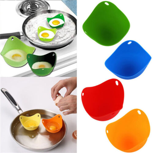 Silicone Egg Poacher Kitchen Poached Cup Pods Pan Baking Mou