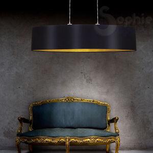 lampadario moderno candelabro nero : Lampada-lampadario-sospensione-design-moderno-paralume-nero-oro-cromo ...
