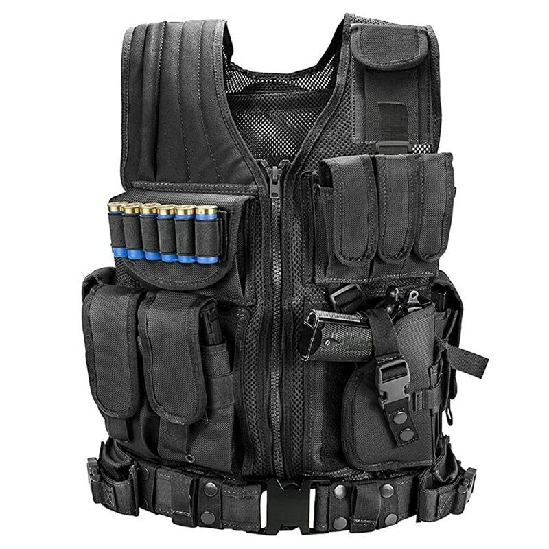 Military Army Tactical Vest Gun Holder Police Molle Combat Assault Hunting Gear