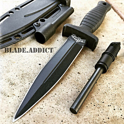 "7"" Double Edge Military Tactical Hunting Dagger Boot Neck Knife + Fire Starter K"