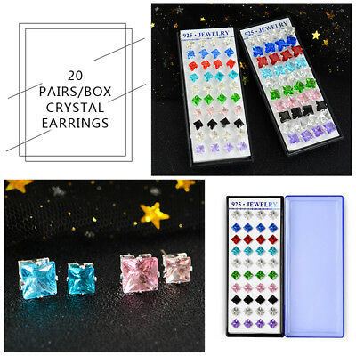 20 Cubic Zirconia Crystals - 20Pairs/Set  Lots Crystal Rhinestone Cubic Zirconia Earrings Set Women Ear Stud