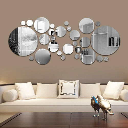Home Decoration - Circle Mirror Tiles Wall Sticker Art Decal Stick On Bedroom Home Art Decorations