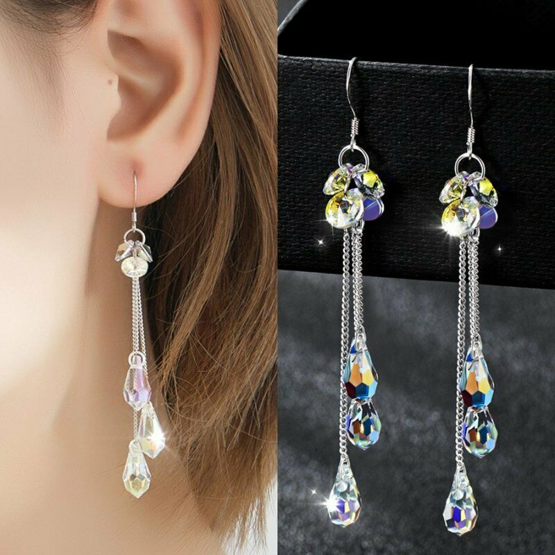 Fashion Long Tassel Chain Earrings Women Crystal Teardrop Dr