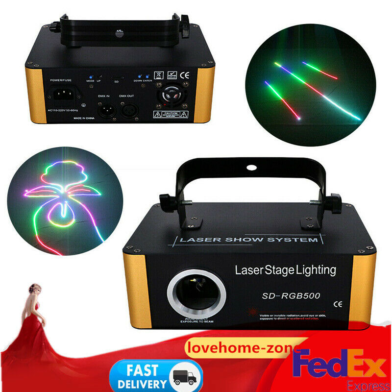 14CH SD Card ILDA RGB Laser DMX Animation Projector 500mW Show DJ Stage Lighting